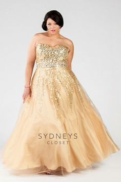 Sydneys Closet SC7116 Plus Size Sequin Prom Dress