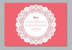 Printable Wedding Menu Place-mat - Doily. $25.00, via Etsy.