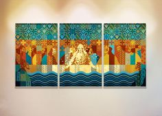 SANTA CEIA IN BLUE Mandala Art, The Last Supper Painting, Christmas Paper, Easy Paintings, Religious Art, Love Art, Storytelling, Interior Decorating, My Arts