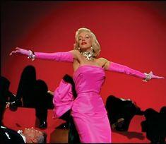 Marilyn singing 'Diamonds Are A Girl's Best Friend' in 'Gentlemen Prefer Blondes.  Dress design by Travilla.