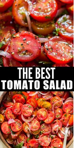 Fresh tomato salad is simply the best and easiest summer salad you'll ever make! This salad is ideal to be served with anything from the grill! #recipes #summer #saladrecipes #tomatosalad #easy #quickmarinated #marinated #bestsalad #chilledsalad #grilling #sidedish #fresh #tomatoes Cherry Tomato Salad, Tomato Salad Recipes, Best Salad Recipes, Healthy Recipes, Recipes With Fresh Tomatoes, Cherry Tomato Recipes, Stuffed Cherry Tomatoes, Garden Tomato Recipes, Easy Tomato Recipes
