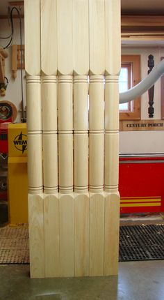 """These are custom porch posts that measure 5"""" x 90"""".  We made the template from photos."""
