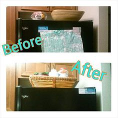 Before and after when decluttering the top of the refrigerator {on Home Storage Solutions 101}
