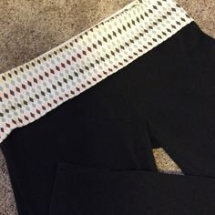 VS Victoria's Secret black yoga pants I think I wore these twice, maybe just ones. Have been washed. No pilling. Black. Top is white, gray, peach and metallic gold. Reg length Victoria's Secret Pants Track Pants & Joggers