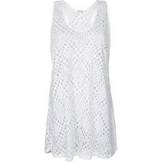 La Playa Sleeveless White Open-weave Beach Dress - Ragata Branco ($50) ❤ liked on Polyvore featuring dresses, white, rayon dress, beach dress, white day dress, white rayon dress and no sleeve dress