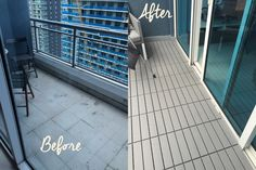 This is a small project I took on for my balcony. The previous tile was very porous and got dirty very quickly without the possibility of the stains going away. My first step was to paint the tiles with an exterior paint in grey. It worked great for a few months then as all paints it started chipping off after a few weeks. I thus decided to go for a cheap and clean solution: the ikea runnen tile, which is a plastic exterior tile that is simply snapped together.