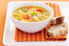 Bought roast chook and almost-instant noodles make this a no-fuss family favourite. The ingredient of Chicken N. Homemade Potato Soup, Creamy Potato Soup, Vegetable Soup Recipes, Noodle Recipes, Soup Broth, Savoury Baking, Wonderful Recipe, Lunches And Dinners, Noodles