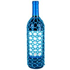 Turquoise Blue and Silver Seed Bead Wine Bottle Cover or Skirt, at www.alwayselegant.com