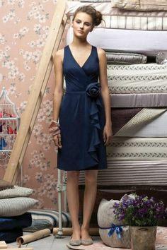 Sheath V-Neck Pleated Flower Bridesmaid Dress