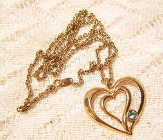 Heart Pendant with Gold Tone Chain by Avon by ViksVintageJewelry