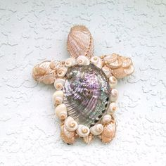 Turtle Art Sea Turtle Aqua and Pearl Abalone Shell Wall Hanging