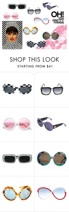 """""""1 9 6 0 s  F r e n c h  M o d  // S u n g l a s s e s"""" by vb-whit ❤ liked on Polyvore featuring Cazal, ZeroUV, Versace and Emilio Pucci"""