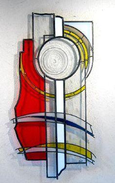 vitrail ORANGE CONSTRUCTION Leo Amery