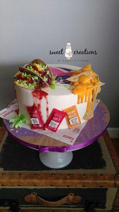 Taco Bell inspired anniversary cake lemon cake with vanilla buttercream. Shared by Carla Beautiful Cakes, Amazing Cakes, Cake Recipes, Dessert Recipes, Desserts, Taco Cake, Taco Cupcakes, Realistic Cakes, Fiesta Cake