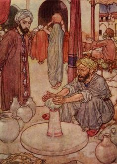 Pinned for later from artsycraftsy.com:  Watching a potter thumping his clay. Edmund Dulac art print from an illustration to The Rubaiyat.
