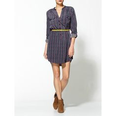 Boundary & Co. Parakeet Belted Shirt Dress found on Polyvore featuring dresses, boundary & co., long-sleeve shirt dresses, belted shirt dress, v neck dress and long sleeve v neck dress