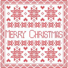 Vector: Merry Xmas Scandinavian style Nordic winter stitch, knitting seamless pattern in the square shape including snowflakes, trees, merry christmas sign in tile style in red