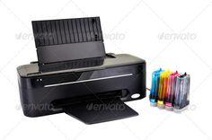 Buy black printer by vetkit on PhotoDune. printer and ciss on a white background Wireless Printer, Office Supplies, Stock Photos, Black, Black People