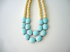 Turquoise yellow statement necklace by stavroula on Etsy, $43.00