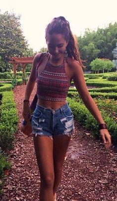 summer outfits boho crop top ripped denim short shorts...