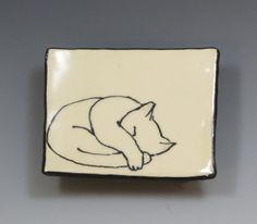 Small Handbuilt Ceramic Tea Bag Rest with Cat