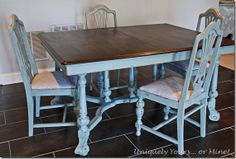 Grey painted dining table and chairs