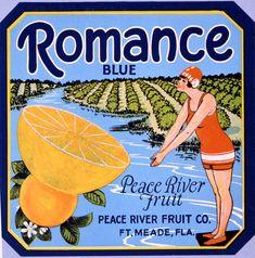 Florida Memory - Peace River Fruit Company's Romance Blue brand citrus label