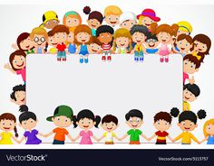 Vector illustration of Crowd children cartoon with blank sign - Kids Background, Cartoon Background, Display Boards For School, Activities For Kids, Crafts For Kids, Blank Sign, School Frame, School Murals, School Clipart