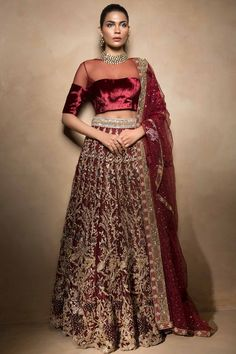 Mahgul Bridal Collection Ruby Wine Bridal Wear Lehenga at Dress Republic Fashion store for your customized and made-to-measure bridal dresses. Designer Bridal Lehenga, Indian Bridal Lehenga, Pakistani Wedding Dresses, Pakistani Dress Design, Indian Dresses, Indian Outfits, Lehenga Wedding, Indian Clothes, Lehenga Blouse