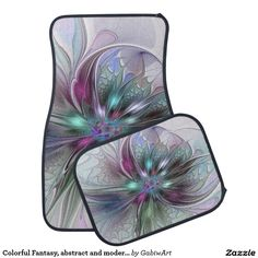 Colorful Fantasy, abstract and modern Fractal Art Car Floor Mat