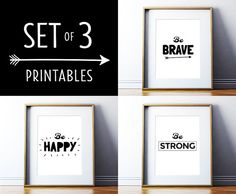 Set of 3 Printable Posters Motivational Quote Black and White Posters Inspirational Wall Decor Printable Art Digital Download