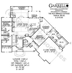 Hot Springs Cottage House Plan 08142, 1st Floor Plan, Mountain Style House Plans, Rustic Style House Plans