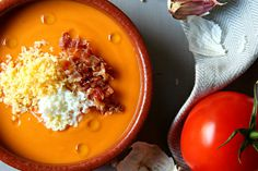 Gazpacho, Migas Thermomix, Chefs, Chef Recipes, Food Spain, Chef Food, Soup, Pudding, Favorite Recipes