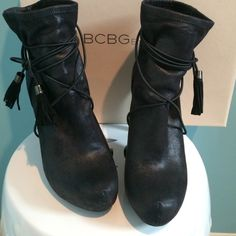 BCBGeneration Fabbie Ankle Boot BCBGeneration Fabbie ankle boot in black faux suede. This boot is fantastic! Wore one time. In original box. BCBGeneration Shoes Ankle Boots & Booties