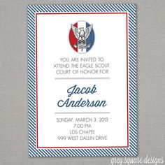 Eagle Scout Court of Honor Invitation by greysquare on Etsy, $12.00