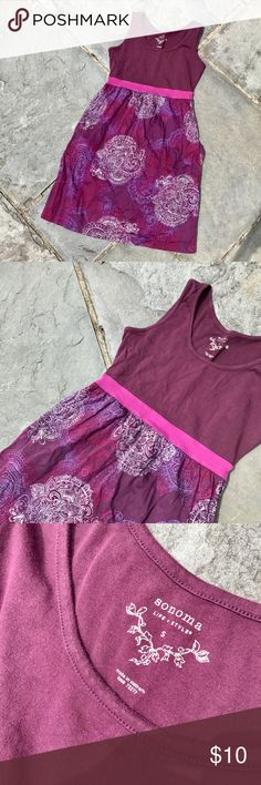 Burgundy Dress This Sonoma Dress is a burgundy with pink, purple, and cream pattern. It has pockets! Sonoma Dresses Midi