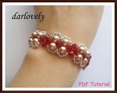 Swarovski  Red Rose Gold Pearl Bracelet (BB157) - PDF Tutorial (buy 3 get 1 Free)