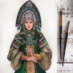 Russian Beauty, Russian Fashion, Russian Art, Fashion Illustration Face, Illustration Art, Illustrations, Fashion Sketches, Art Sketches, Art Drawings
