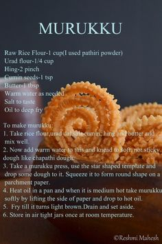 Murukku is a crispy south Indian snack made of rice and urad dal. It is mixed to form a dough along with some spices. Then it is shaped to s… - Murukku is a crispy south Indian snack made of rice and urad dal. It is mixed to. Savory Snacks, Snack Recipes, Cooking Recipes, Yummy Recipes, Cooking Tips, Diwali Snacks, Indian Cookbook, Ways To Cook Chicken, Fried Fish Recipes