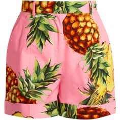 Dolce & Gabbana Pineapple-print cotton shorts ($486) ❤ liked on Polyvore featuring shorts, pineapple print shorts, high-rise shorts, tailored shorts, pink shorts and highwaist shorts