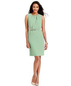 @Sandra Steiner Charter Club Dress, Sleeveless Belted Sheath - Womens Dresses - Macy's