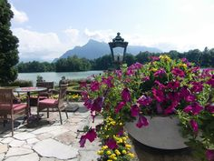 The beautiful terrace of Schloss Leopoldskron in Salzburg, where the von Trapp children had lemonade with Uncle Max and the Baroness in The Sound of Music.