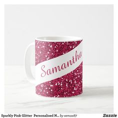 Sparkly Pink Glitter  Personalised Name Coffee Mug Glam And Glitter, Glitter Cups, Pink Glitter, Pink Sparkle Background, Pink Sparkles, Unique Coffee Mugs, Love Is All, Coffee Cups, Personalized Gifts