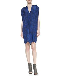 Short-Sleeve Double-V Silk Shift Dress by Vince at Neiman Marcus.