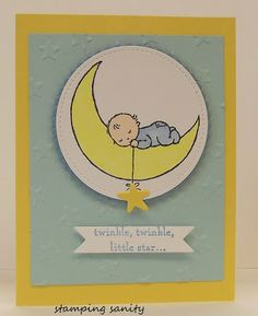 Today I have a sneak peek of one of the stamp sets in the Occasions catalog called Moon Baby.   This card is for my nephews little bab...