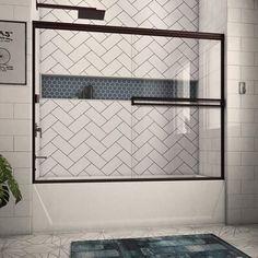 Arizona Shower Door x Bypass Semi-Frameless Tub Door Finish: Oil Rubbed Bronze, Glass Type: Clear Bathtub Doors, Frameless Shower Doors, Bathtub Tile, Bath Tiles, Bathroom Renos, Bathroom Interior, Bathroom Ideas, Small Bathroom, Bath Tub Tile Ideas