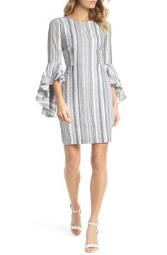 online shopping for Maggy London Stripe Ruffle Sleeve Sheath Dress from top store. See new offer for Maggy London Stripe Ruffle Sleeve Sheath Dress Kurti Sleeves Design, Sleeves Designs For Dresses, Sleeve Designs, Dress Designs, Stylish Dresses For Girls, Dress Indian Style, One Piece Dress, Nordstrom Dresses, Ruffle Sleeve