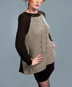 Look what I found on #zulily! Taupe Lattice-Knit Raglan Sweater #zulilyfinds