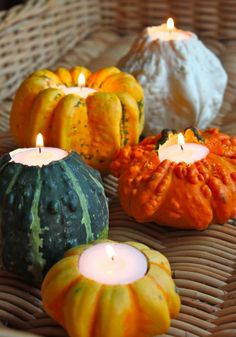 """Stylish Decor Ideas for Fall Entertaining: """"Gourd""""eous Candle Holders"""