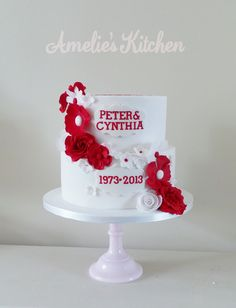 Trendy Cake Ideas For Mom Decorating Supplies Ideas 40th Anniversary Cakes, Wedding Anniversary Cakes, Ruby Anniversary, Anniversary Ideas, Ruby Wedding Cake, Wedding Cakes, Fondant Cake Designs, Cake Recipes For Kids, Cake Decorating Supplies